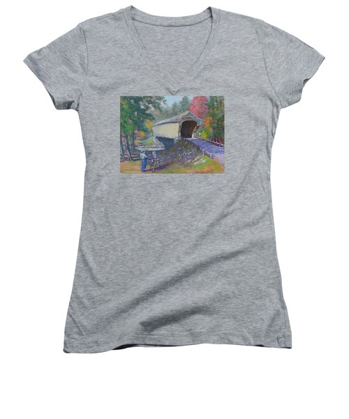 Painting Covered Bridge  Women's V-Neck (Athletic Fit)