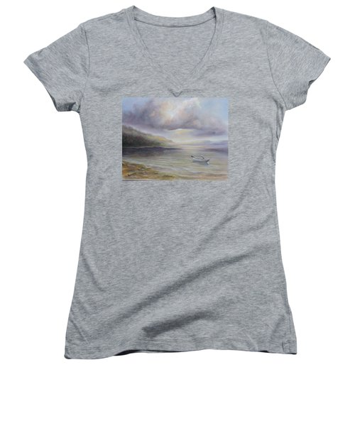 Beach By Sruce Run Lake In New Jersey At Sunrise With A Boat Women's V-Neck
