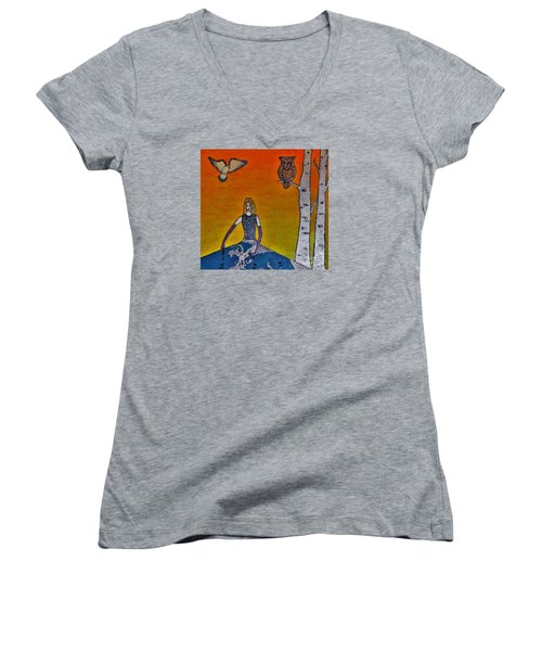 Painting On A Sunny Day Women's V-Neck (Athletic Fit)