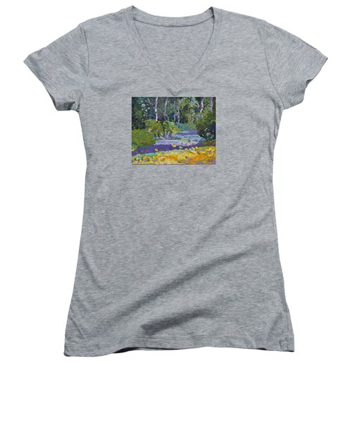 Painting Pixie Forest Women's V-Neck T-Shirt (Junior Cut) by Chris Hobel
