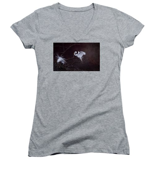 Pair Of Egrets Women's V-Neck T-Shirt (Junior Cut) by Kelly Marquardt