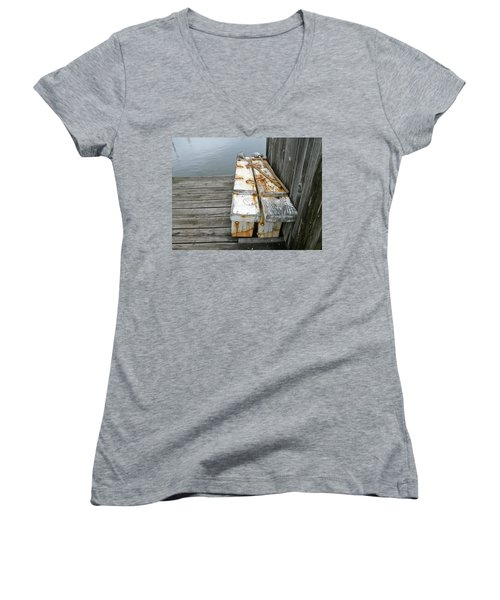 Women's V-Neck T-Shirt (Junior Cut) featuring the photograph Paired Up by Anna Ruzsan