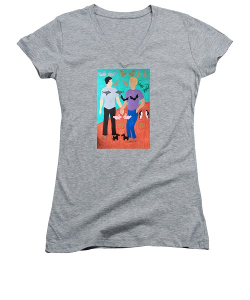 Women's V-Neck T-Shirt (Junior Cut) featuring the painting Pairs by Erika Chamberlin