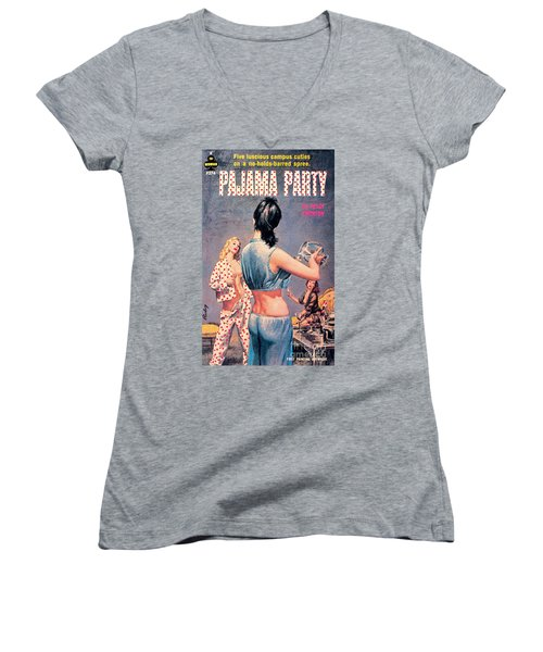 Women's V-Neck T-Shirt (Junior Cut) featuring the painting Pajama Party by Paul Rader