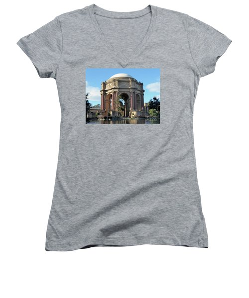 Women's V-Neck T-Shirt (Junior Cut) featuring the photograph Palace Of Fine Arts by Steven Spak
