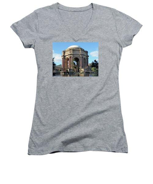 Women's V-Neck T-Shirt (Junior Cut) featuring the photograph Palace Of Fine Arts by Steven Spak