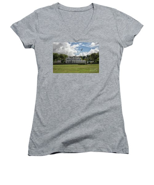 Palace Of President In Paramaribo Women's V-Neck T-Shirt (Junior Cut) by Patricia Hofmeester