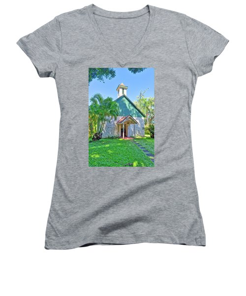 Women's V-Neck featuring the photograph Palapala Ho'omau Congregational Church by Jim Thompson