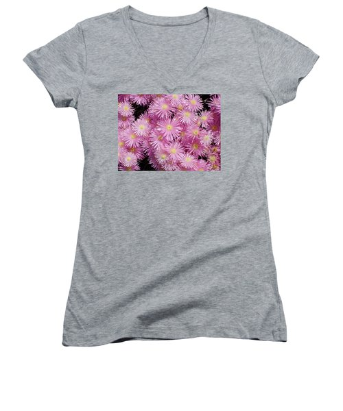 Pale Pink Flowers Women's V-Neck T-Shirt (Junior Cut) by Mark Barclay