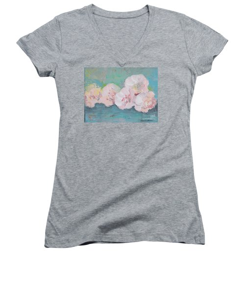 Pale Pink Peonies Women's V-Neck