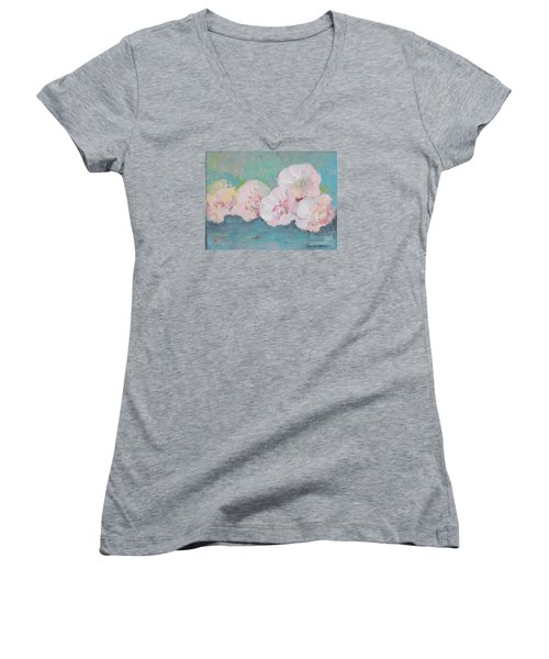Pale Pink Peonies Women's V-Neck T-Shirt