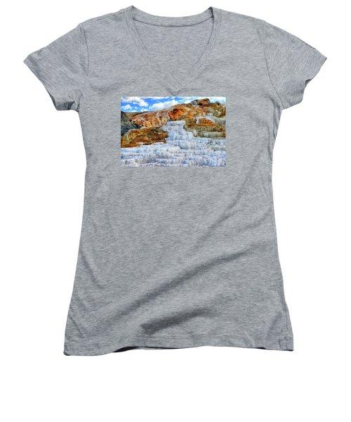 Palette Steps Women's V-Neck T-Shirt (Junior Cut) by Greg Norrell