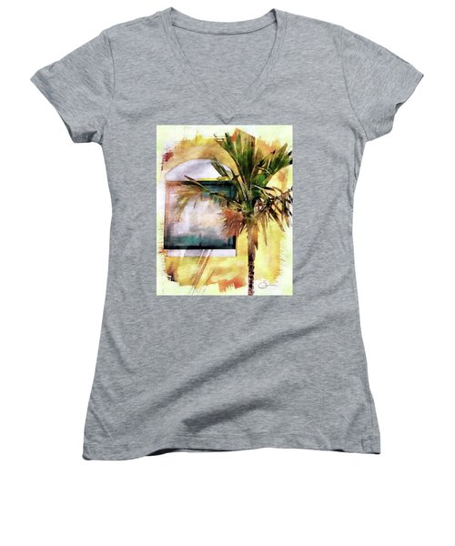Palm And Window Women's V-Neck T-Shirt (Junior Cut) by Robert Smith