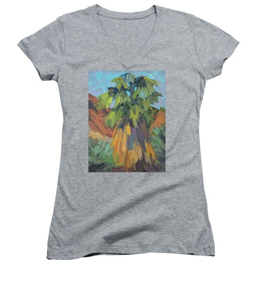 Women's V-Neck T-Shirt (Junior Cut) featuring the painting Palm At Santa Rosa Mountains Visitors Center by Diane McClary