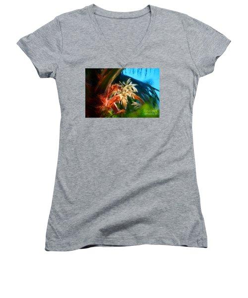 Palm Flowers Women's V-Neck T-Shirt (Junior Cut)