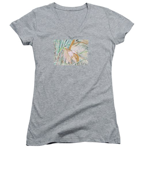 Women's V-Neck T-Shirt (Junior Cut) featuring the painting Palm Flowers by Hilda and Jose Garrancho