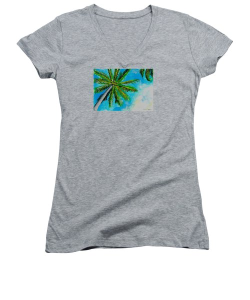 Palm In The Sky Women's V-Neck (Athletic Fit)