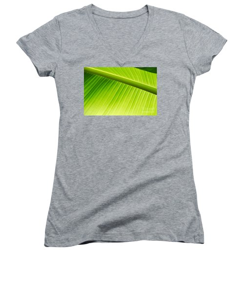 Women's V-Neck T-Shirt (Junior Cut) featuring the painting Palm Leaf Background by Yurix Sardinelly
