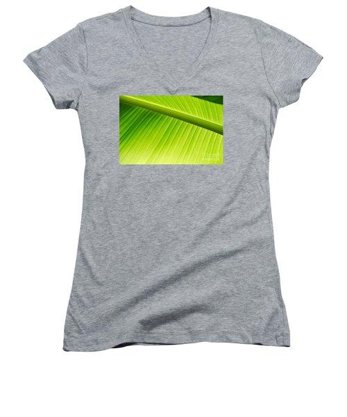 Palm Leaf Background Women's V-Neck (Athletic Fit)
