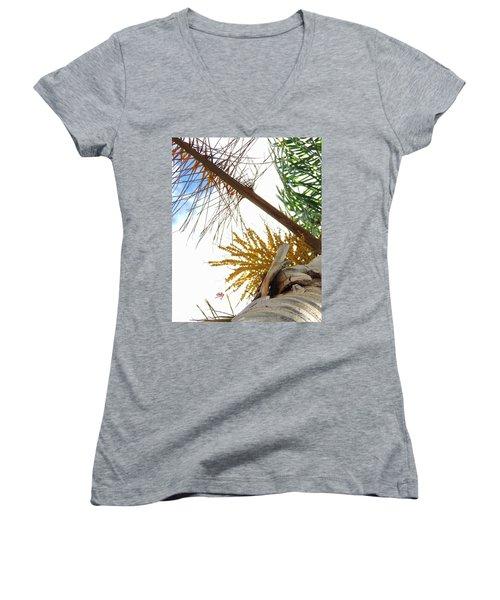 Women's V-Neck T-Shirt (Junior Cut) featuring the photograph Palm Sky View by Linda Hollis