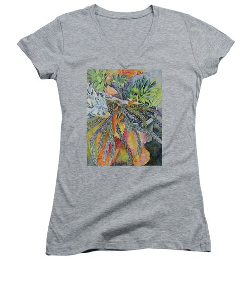 Women's V-Neck T-Shirt (Junior Cut) featuring the painting Palm Springs Cacti Garden by Joanne Smoley