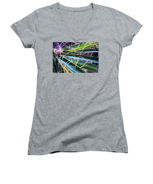 Palm Strings Women's V-Neck T-Shirt (Junior Cut) by John Glass