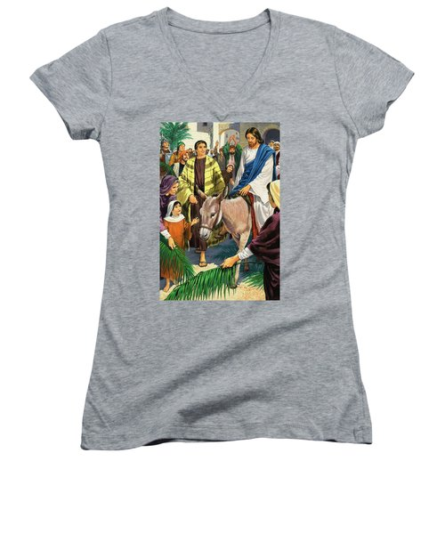 Palm Sunday Women's V-Neck T-Shirt (Junior Cut) by Clive Uptton