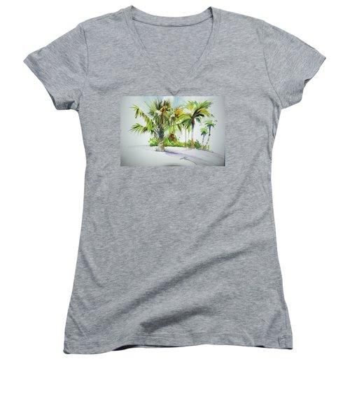 Palm Sunday Women's V-Neck T-Shirt (Junior Cut) by P Anthony Visco