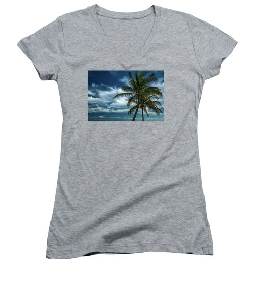 Palm Tree Against The Sky Women's V-Neck (Athletic Fit)