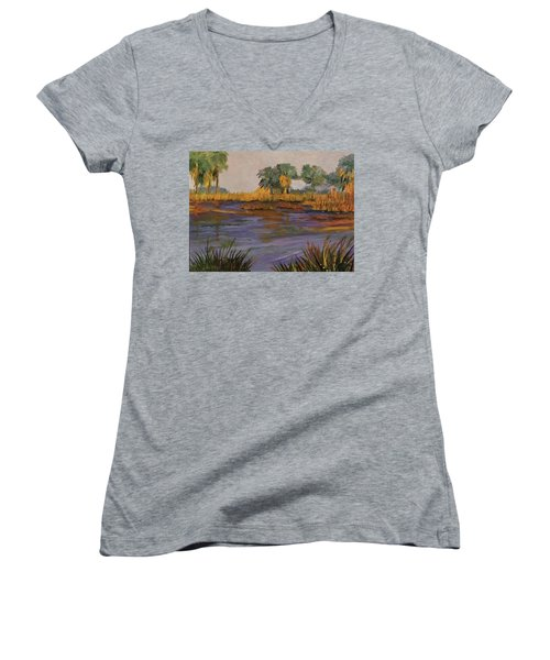 Palm Tree Hideaway  Women's V-Neck (Athletic Fit)