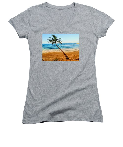 Palm Tree  Women's V-Neck (Athletic Fit)