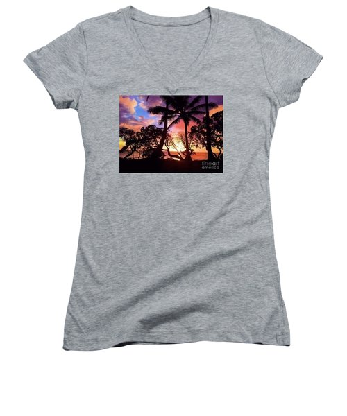 Palm Tree Silhouette Women's V-Neck (Athletic Fit)