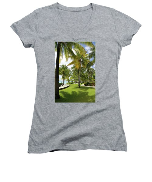 Palm Trees 2 Women's V-Neck T-Shirt (Junior Cut) by Sharon Jones