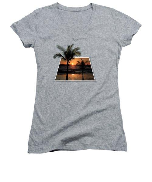 Palm Trees At Sunset Women's V-Neck T-Shirt (Junior Cut) by Shane Bechler