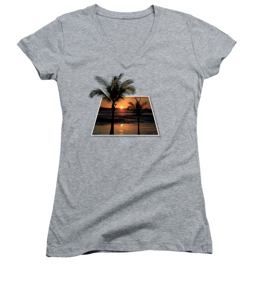 Palm Trees At Sunset Women's V-Neck