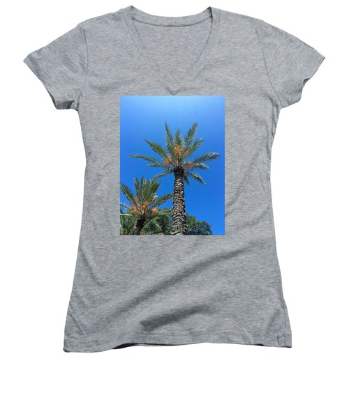 Palm Trees Women's V-Neck T-Shirt (Junior Cut) by Kay Gilley