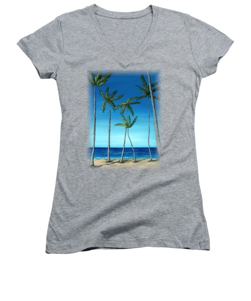 Women's V-Neck T-Shirt (Junior Cut) featuring the painting Palm Trees On Blue by Anastasiya Malakhova