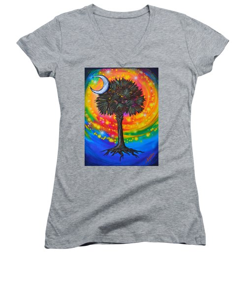 Palmetto Tree Of Life Women's V-Neck (Athletic Fit)