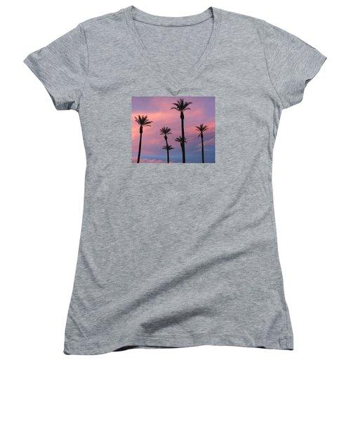 Women's V-Neck T-Shirt (Junior Cut) featuring the photograph Palms At Sunset by Phyllis Kaltenbach
