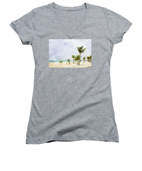 Palmtrees In Punt Cana Women's V-Neck T-Shirt