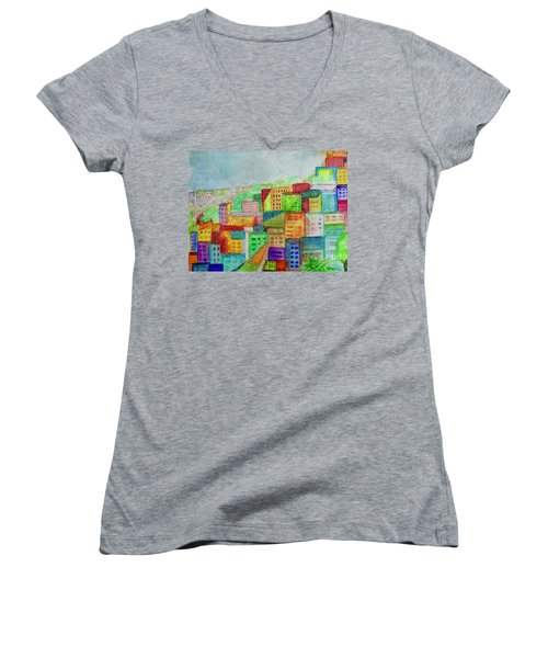 Women's V-Neck T-Shirt (Junior Cut) featuring the painting Palmyra by Kim Nelson