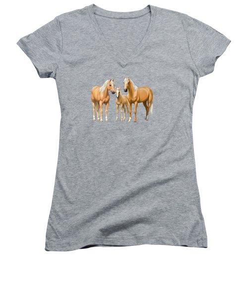 Palomino Horses In Winter Pasture Women's V-Neck