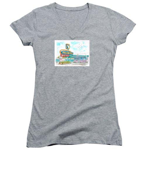 Palomino Motel In Route 66, Tucumcari, New Mexico Women's V-Neck T-Shirt (Junior Cut) by Carlos G Groppa