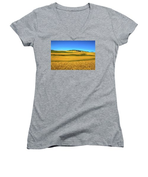Palouse Wheat Field Women's V-Neck
