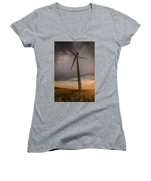 Palouse Windmill At Sunrise Women's V-Neck T-Shirt (Junior Cut) by Chris McKenna