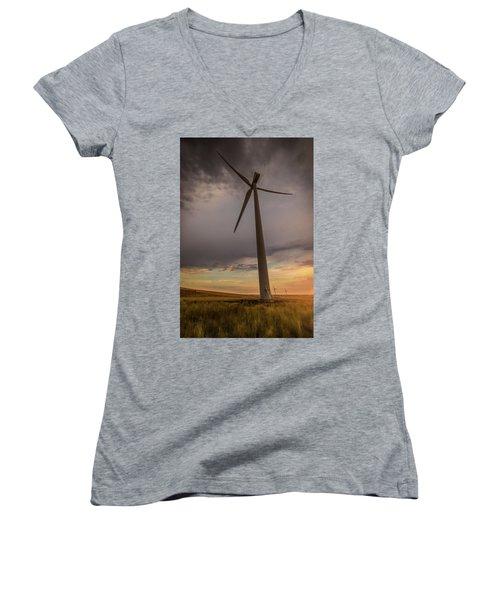 Palouse Windmill At Sunrise Women's V-Neck (Athletic Fit)