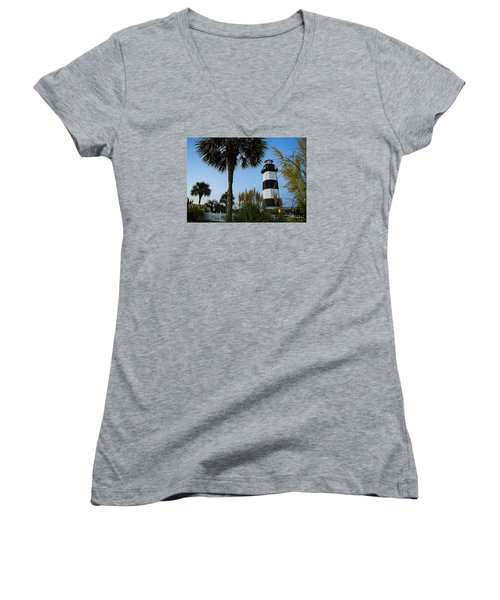 Pampas Grass, Palms And Lighthouse Women's V-Neck