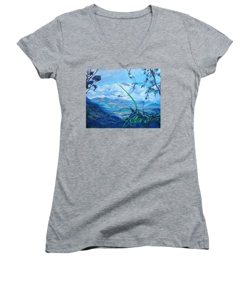 Women's V-Neck T-Shirt (Junior Cut) featuring the painting Panama. Anton Valley by Anna  Duyunova