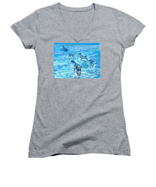 Women's V-Neck T-Shirt (Junior Cut) featuring the painting Panama. Salted Dogs by Anna  Duyunova