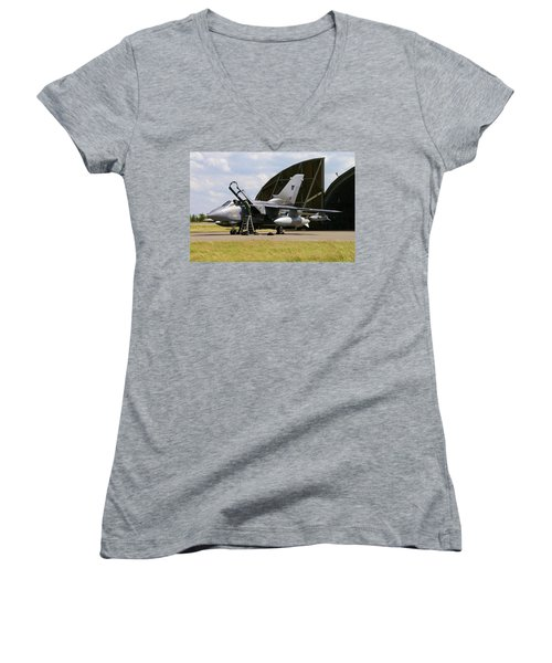 Women's V-Neck T-Shirt (Junior Cut) featuring the photograph Panavia Tornado Gr4 by Tim Beach